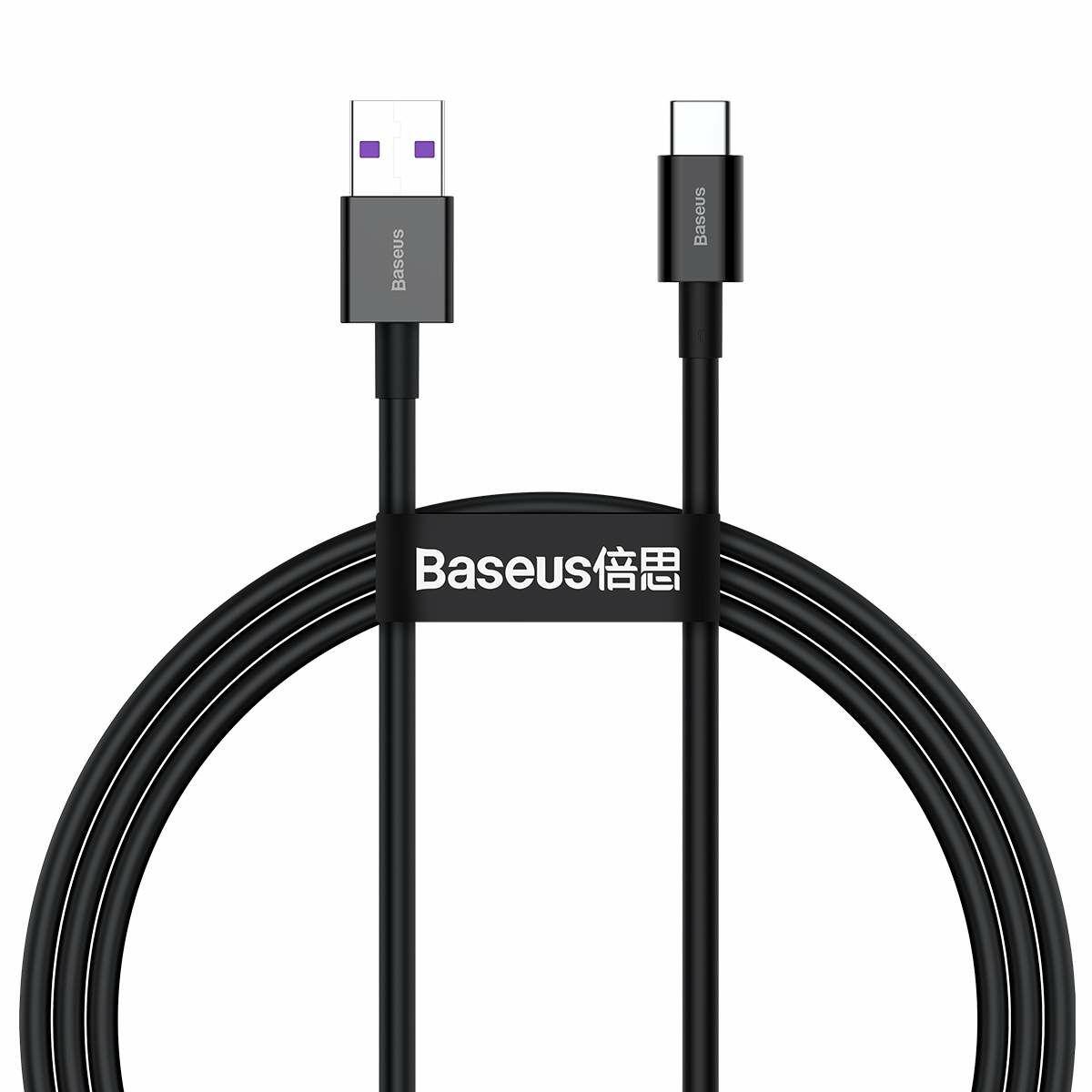 Baseus Type-C Superior series Gyors töltés, Adatkábel, 66W (11V / 6A) 1m, fekete (CATYS-01)