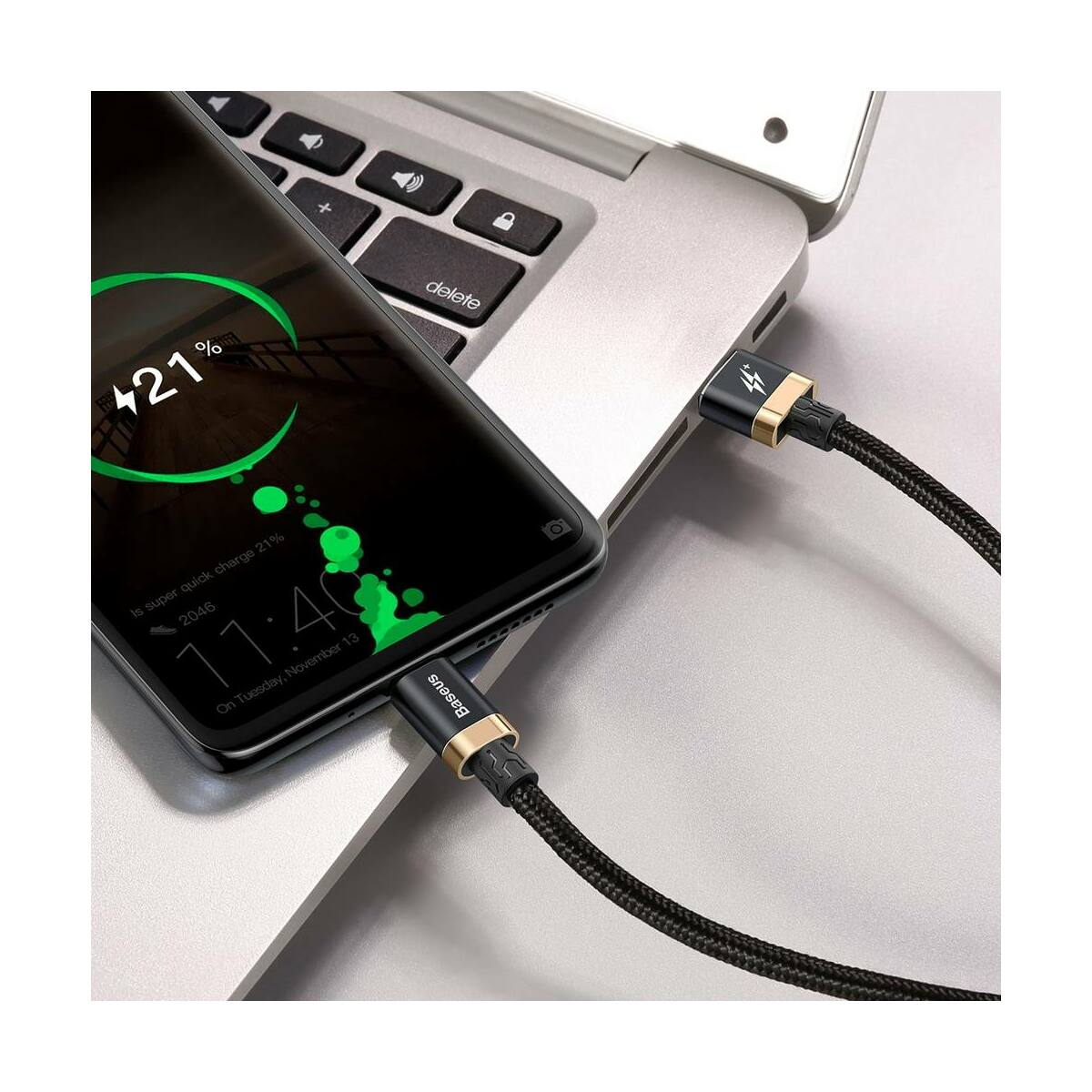 Baseus Type-C HW gyors töltő cable 40W 2m, arany/fekete (CATZH-BV1)