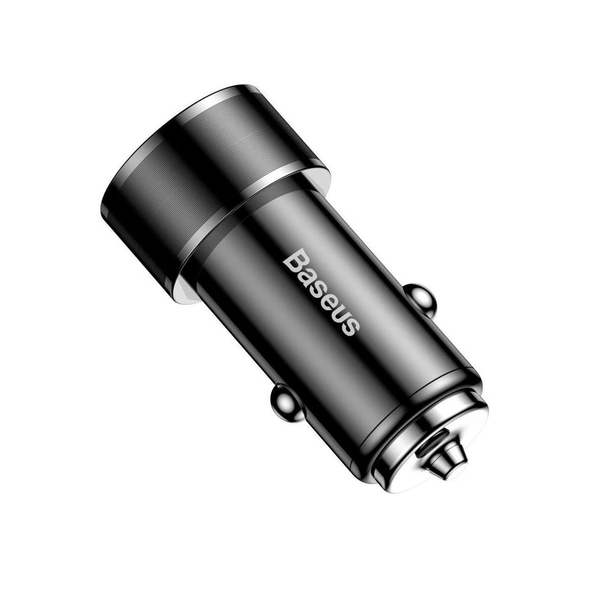 Baseus autós töltő, Small Screw Type-C PD + USB gyors töltés 36W, fekete (CAXLD-A01)