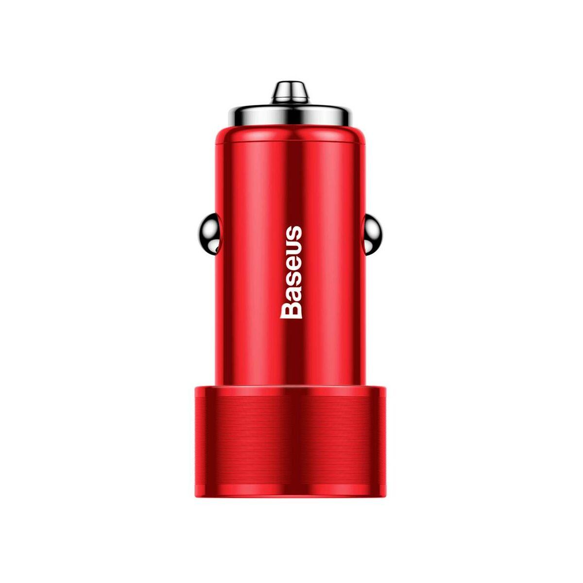 Baseus autós töltő, Small Screw Dupla USB gyors, töltés 36W, piros (CAXLD-B09)