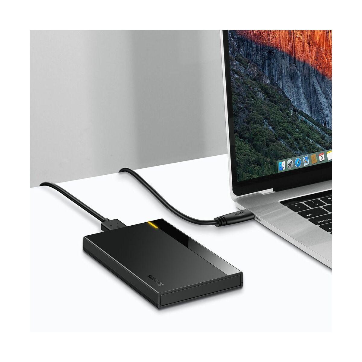 Baseus kiegészítő, HDD / SSD 2,5 inch merevlemez ház, (Micro USB), 50cm kábel hossz, műanyag ház, fekete (CAYPH-A01)