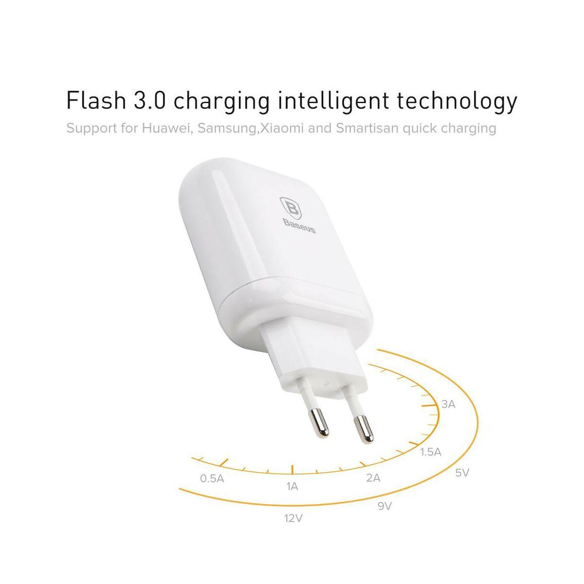 Baseus hálózati töltő, Bojure series Dupla USB gyors töltés, max 23W, 3A, fehér (CCALL-AG02)