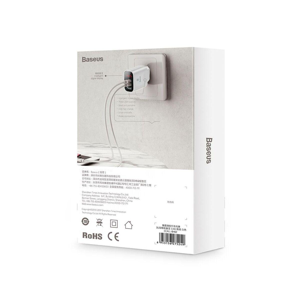 Baseus hálózati töltő, Mirror Lake digitális kijelzős 3xUSB, 3.4A, fehér (CCALL-BH02)