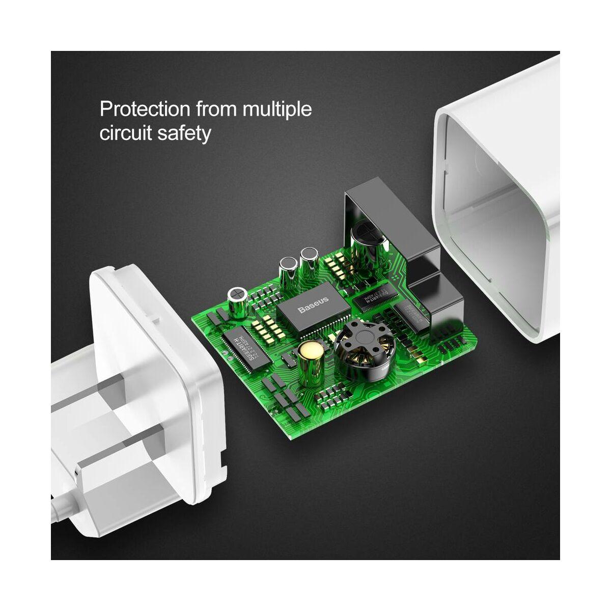Baseus hálózati töltő, gyors töltés, max 24W, 3A, fehér EU (CCALL-BX02)