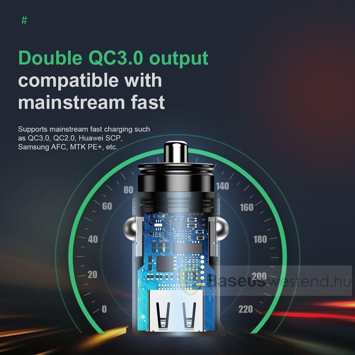 Baseus autós töltő, Square metal A + A 30W Dupla QC3.0 (SCP.AFC), fekete (CCALL-DS01)