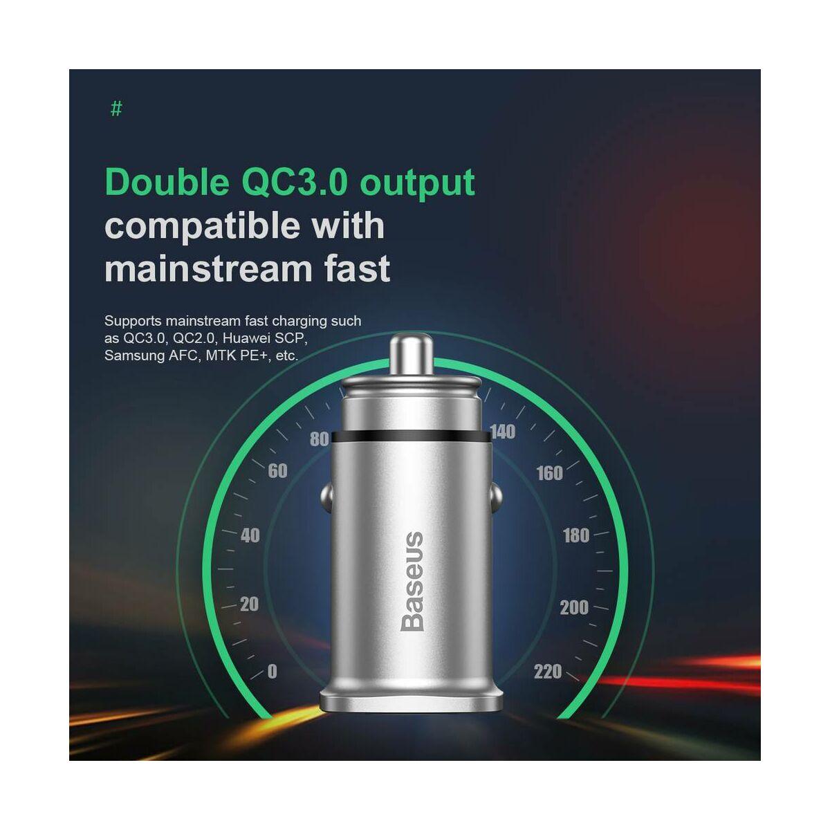 Baseus autós töltő, Square metal A + A 30W Dupla QC3.0 (SCP.AFC), ezüst (CCALL-DS0S)