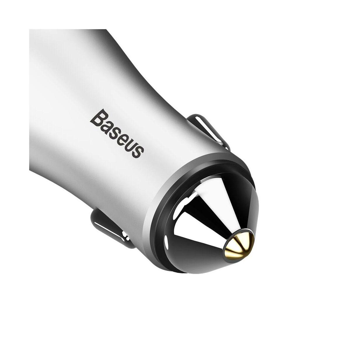 Baseus autós töltő, Golden Contactor Dupla USB intelligens, 2.4A, ezüst (CCALL-DZ0S)