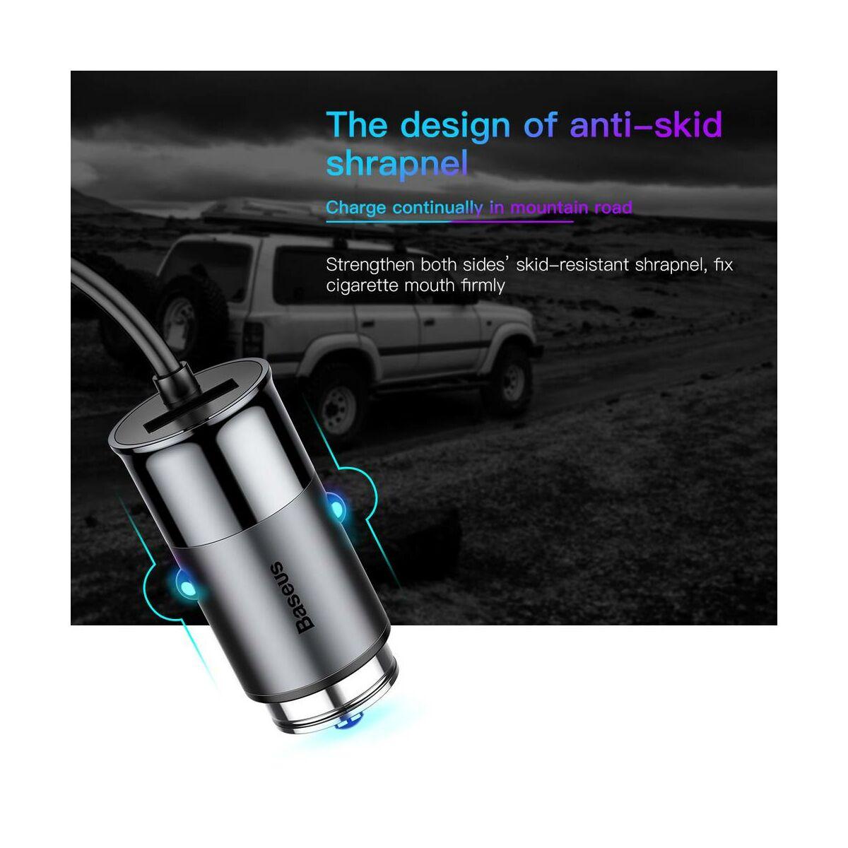 Baseus autós töltő, Enjoy Together 2-in-1 Lightning és Type-C, 4.8A, 1.2m, sötétszürke (CCALL-EL0G)