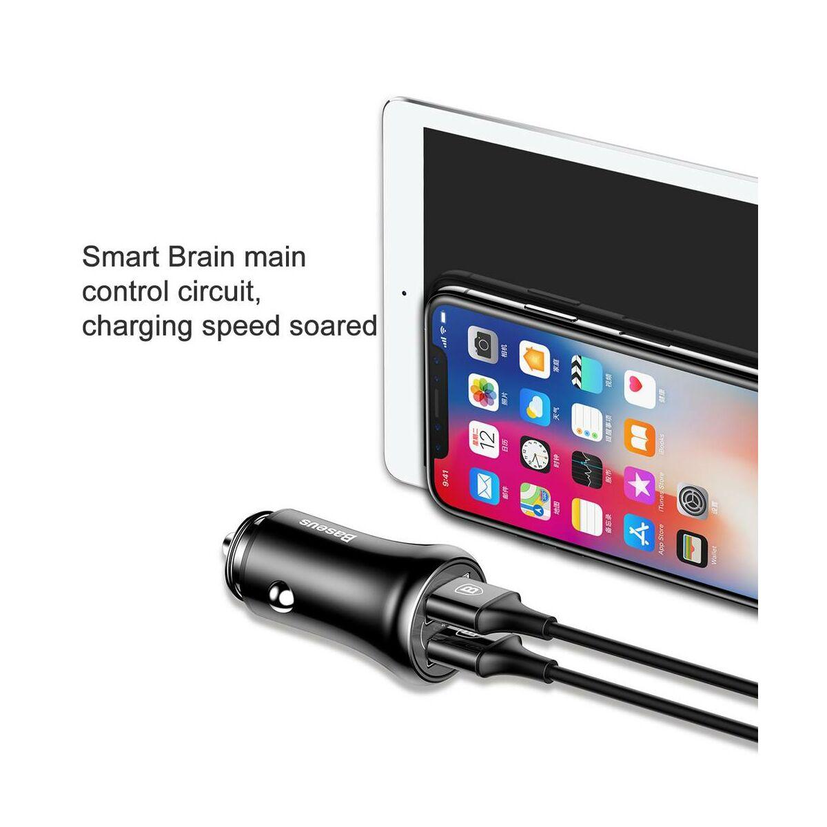 Baseus autós töltő, Gentleman Dupla-USB, 4.8A, fekete (CCALL-GB01)