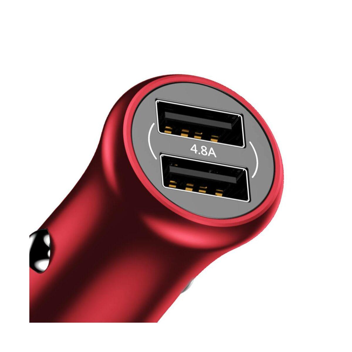 Baseus autós töltő, Gentleman Dupla-USB, 4.8A, piros (CCALL-GB09)