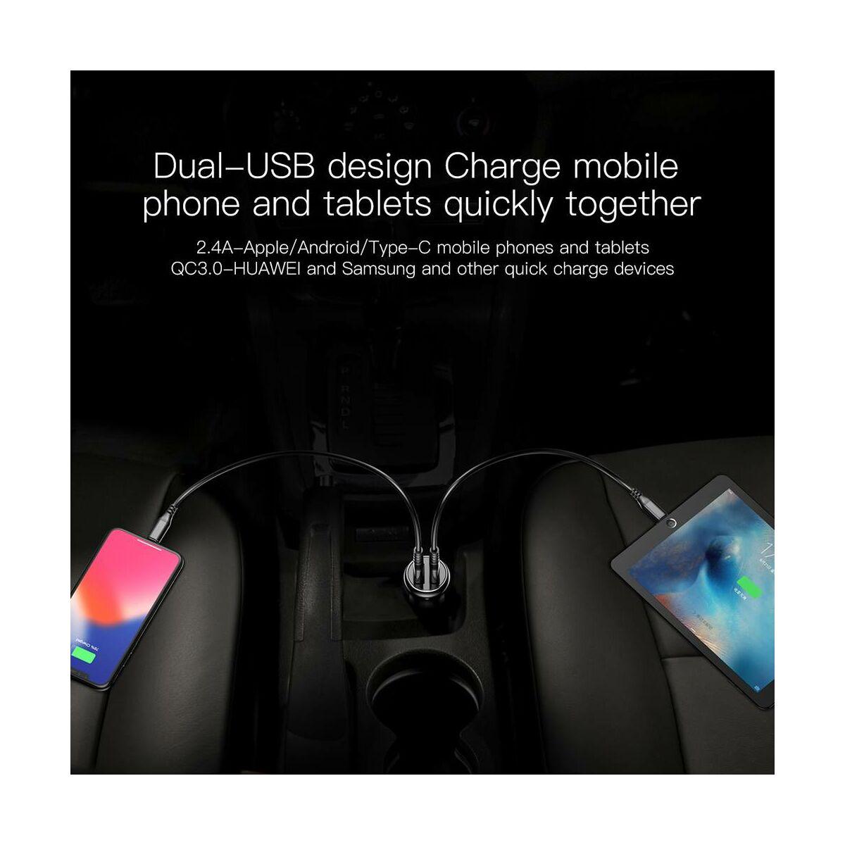 Baseus autós töltő, Gentry series Dupla USB gyors töltés, max 4.8A, fekete (CCALL-GC01)