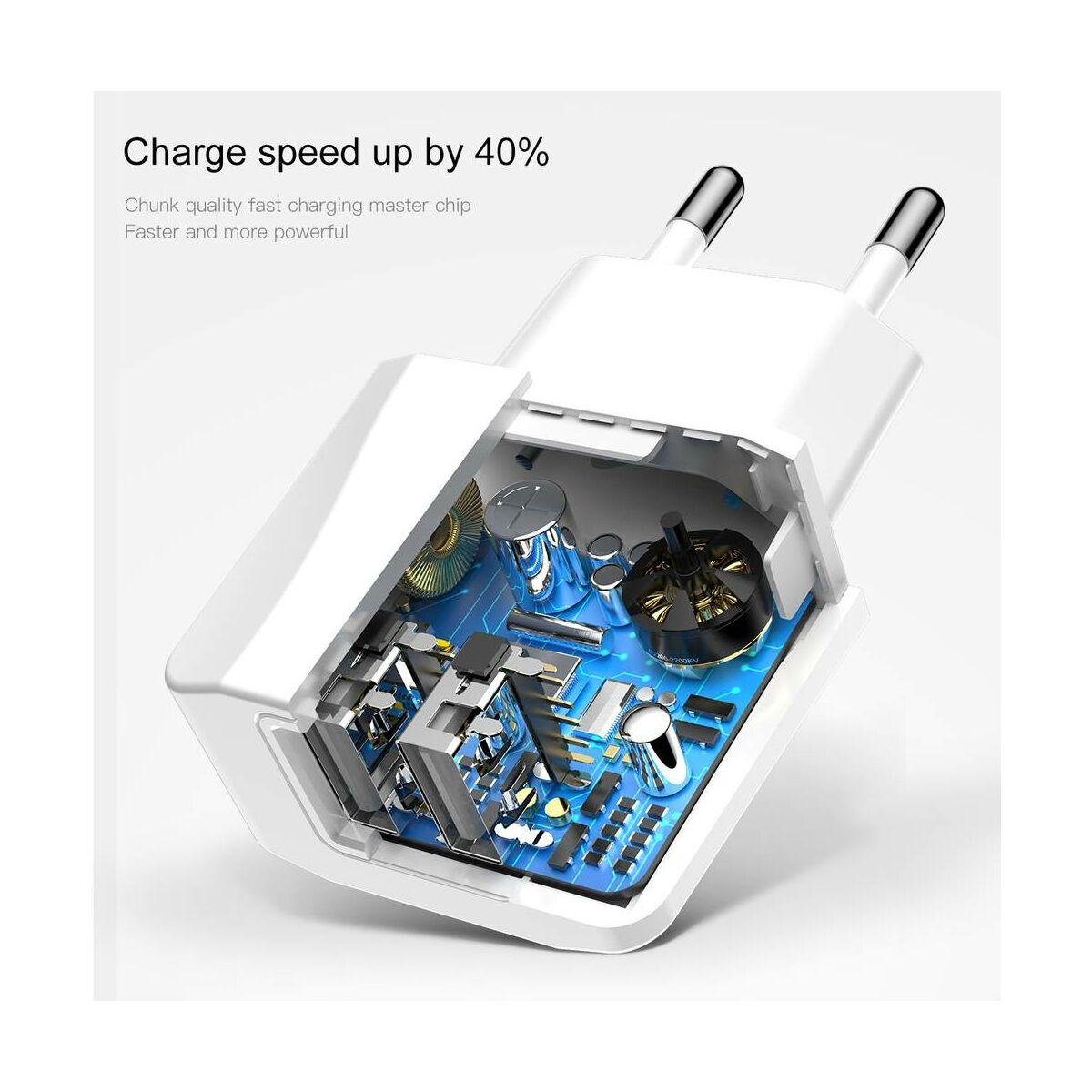 Baseus hálózati töltő, Mini Dupla USB, 2.1A, fehér (CCALL-MN02)