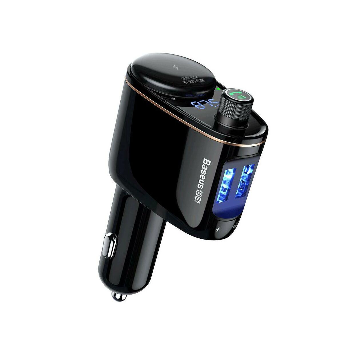 Baseus autós töltő, Bluetooth Fm Transzmitter, Locomotive, 3.4A, fekete (CCALL-RH01)