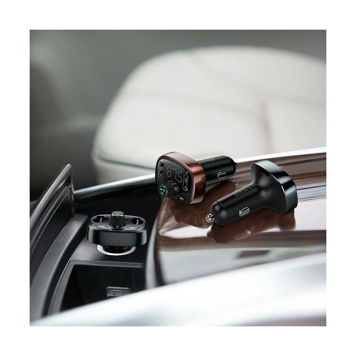 Baseus autós töltő, Bluetooth Fm Transzmitter T-Typed MP3 USB TF microSD 3.4A, fekete (CCALL-TM01)