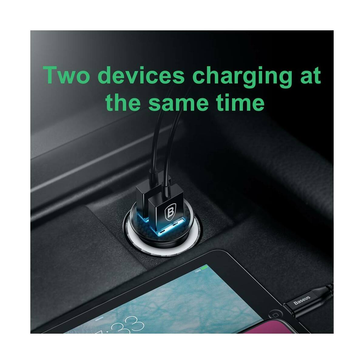 Baseus autós töltő, Dupla gyors töltés 3.0, 30W, fekete (CCALL-YD01)