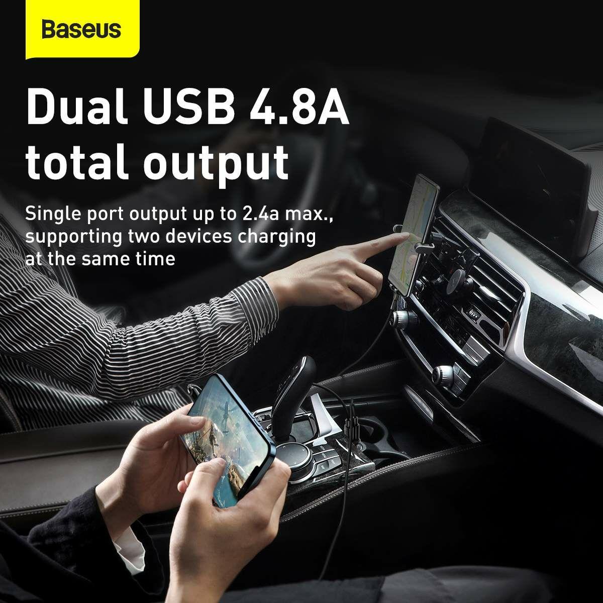 Baseus autós töltő, Grain Pro Dupla USB, 4.8A, fekete (CCALLP-01)