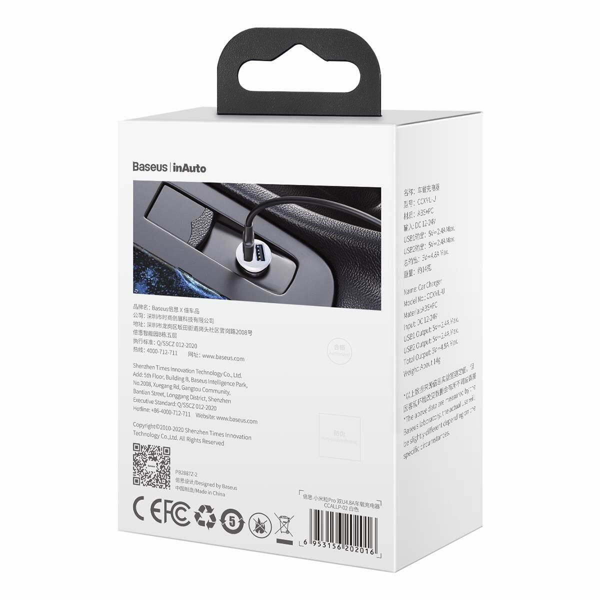 Baseus autós töltő, Grain Pro Dupla USB, 4.8A, fehér (CCALLP-02)