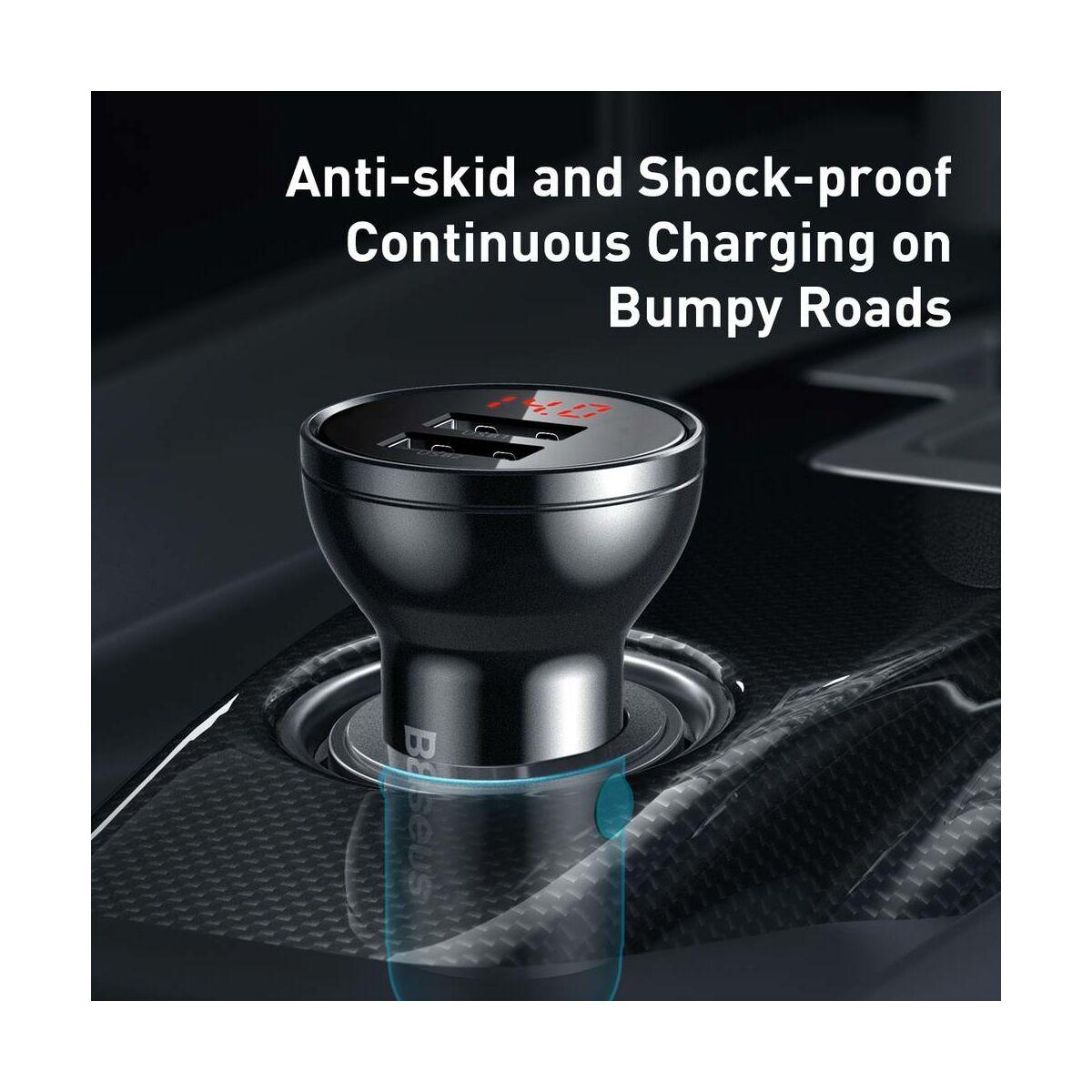 Baseus autós töltő, Digital Display Dual USB csatlakozás, digitális kijelzés, 24W 4.8A, szürke (CCBX-0G)