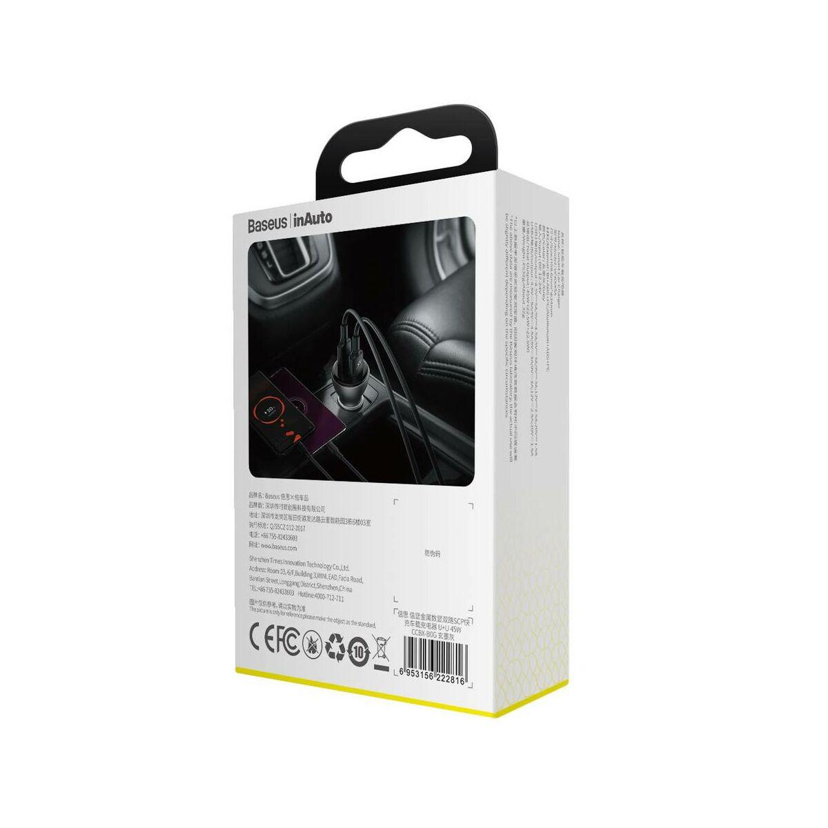Baseus autós töltő, digitális kijelzővel dupla SCP QC 2xUSB, 45W, szürke (CCBX-B0G)