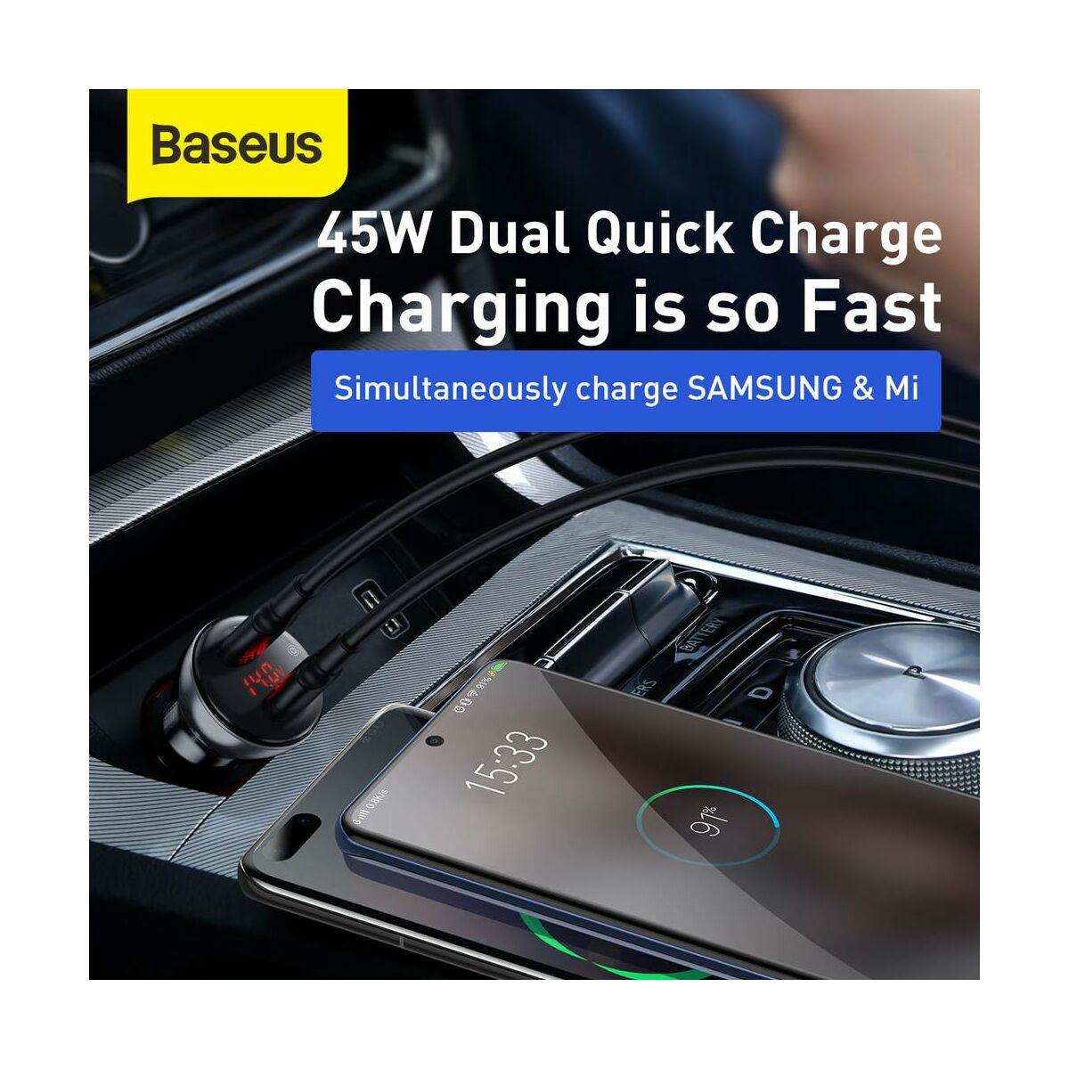 Baseus autós töltő, digitális kijelzővel dupla PPS, QC 3.0 C+U 45W, ezüst (CCBX-C0S)