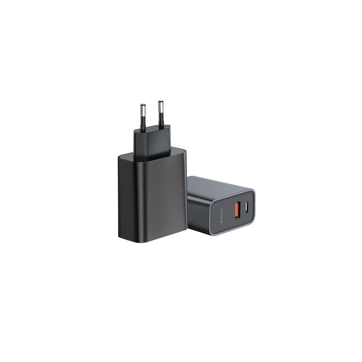 Baseus hálózati töltő, nagy sebességű PPS gyors töltés C+U 30W, fekete (CCFS-C01)