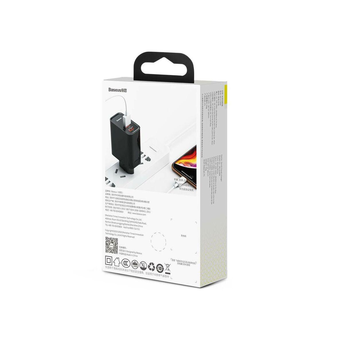 Baseus hálózati töltő, nagy sebességű Dual QC3.0 gyors töltés U+U 30W, fekete (CCFS-E01)