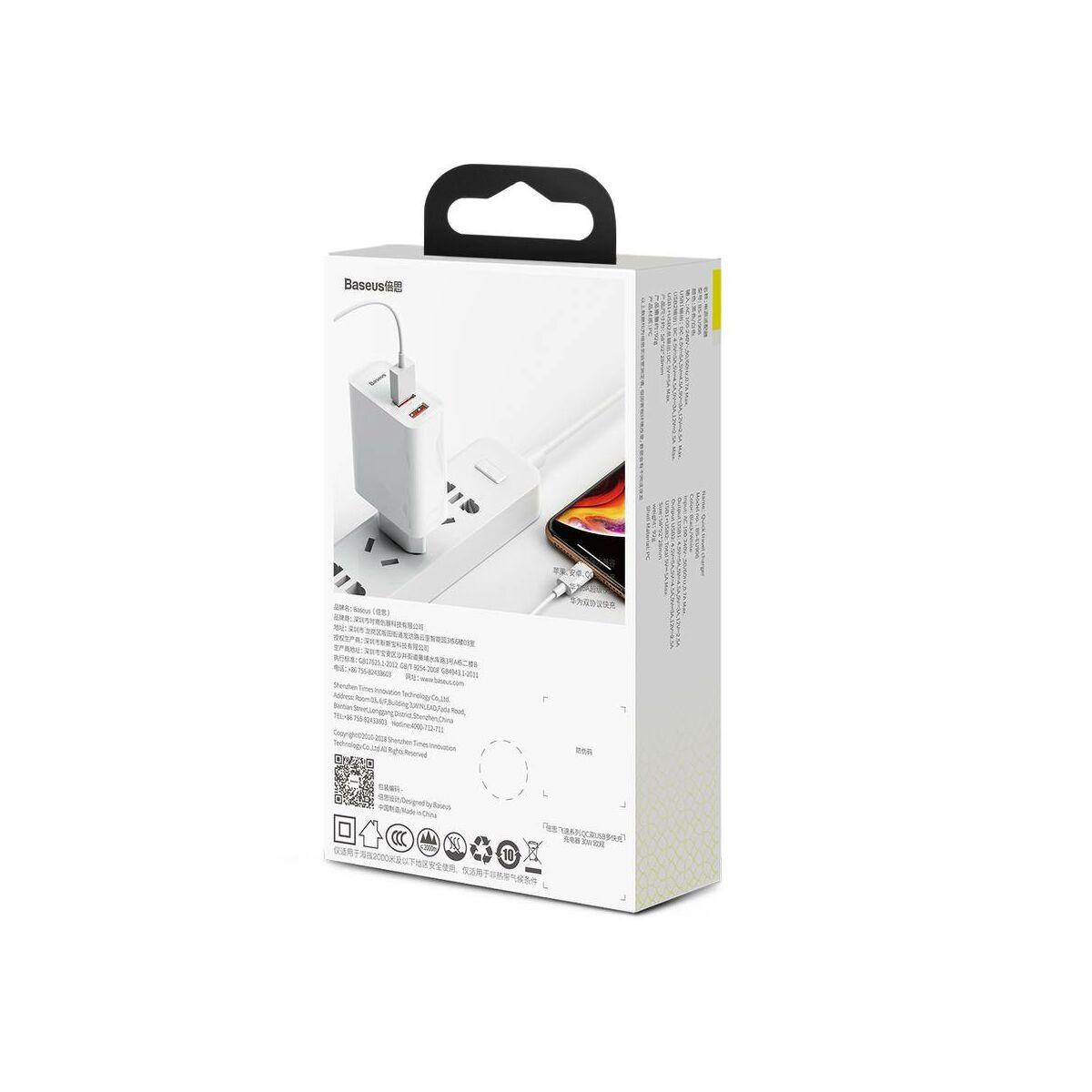 Baseus hálózati töltő, nagy sebességű Dual QC3.0 gyors töltés U+U 30W, fehér (CCFS-E02)