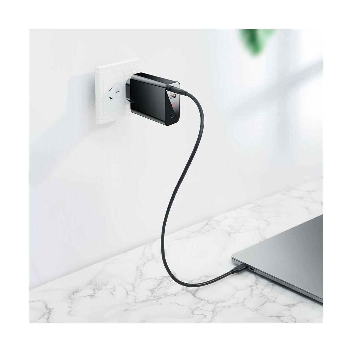 Baseus hálózati töltő, Speed PPS intelligens lekapcsolás, digitális kijelző, C+U 45W EU, fekete (CCFSEU907-01)