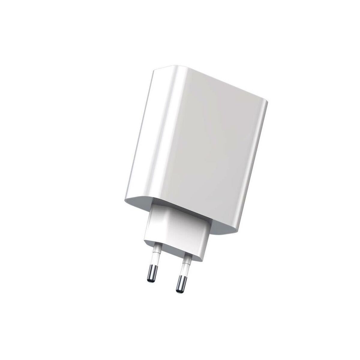 Baseus hálózati töltő, Speed PPS intelligens lekapcsolás, digitális kijelző, C+U 45W EU, fehér (CCFSEU907-02)