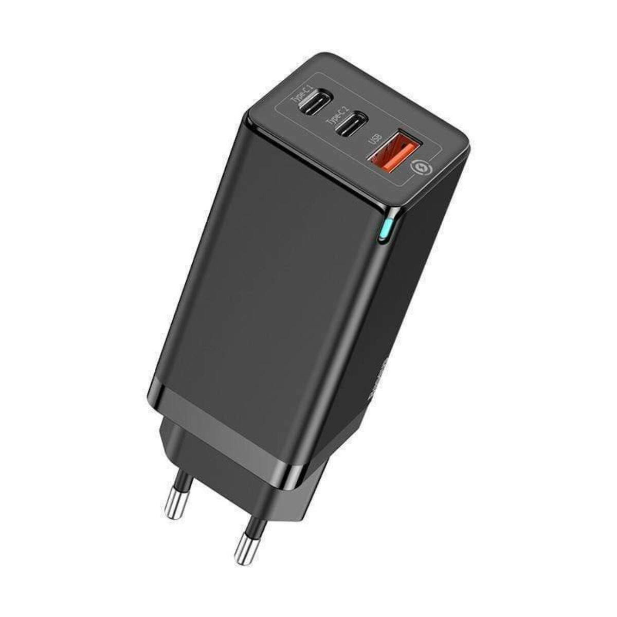 Baseus hálózati töltő, GaN györs töltő, USB C+C+A, 65W EU, fekete (CCGAN-B01)