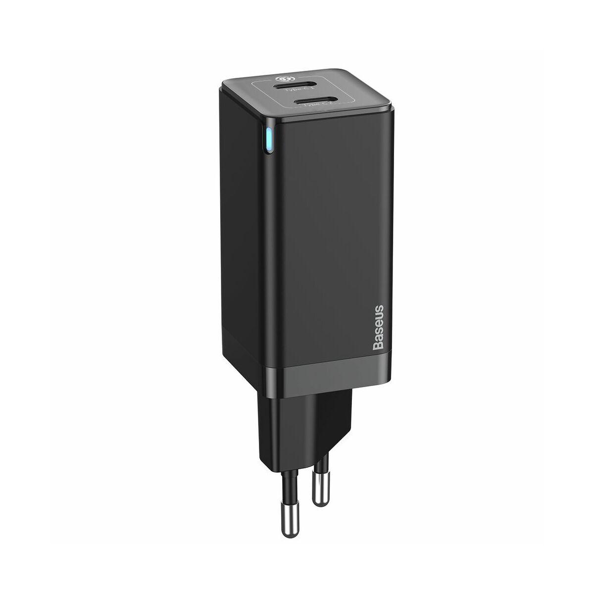 Baseus hálózati töltő, GaN gyors töltő szett, C+C (ajándék Mini series kábel C+C 60W, 3A, 1m) 45W, fekete (CCGAN-M01)