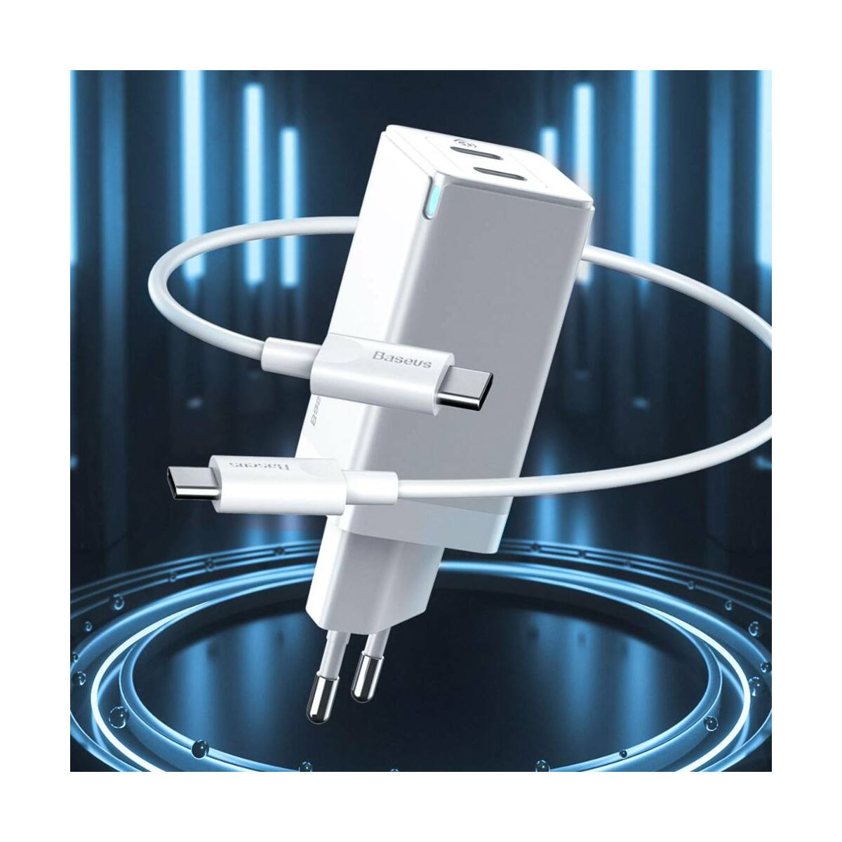 Baseus hálózati töltő, GaN gyors töltő szett, C+C (ajándék Mini series kábel C+C 60W, 3A, 1m) 45W, fehér (CCGAN-M02)