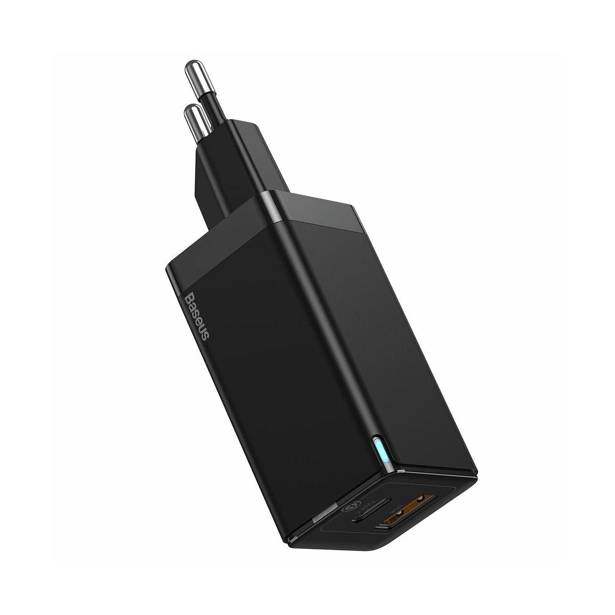 Baseus hálózati töltő, GaN gyors töltő szett, C+U (ajándék Mini series kábel C+C 60W, 3A, 1m) 45W, fekete (CCGAN-Q01)