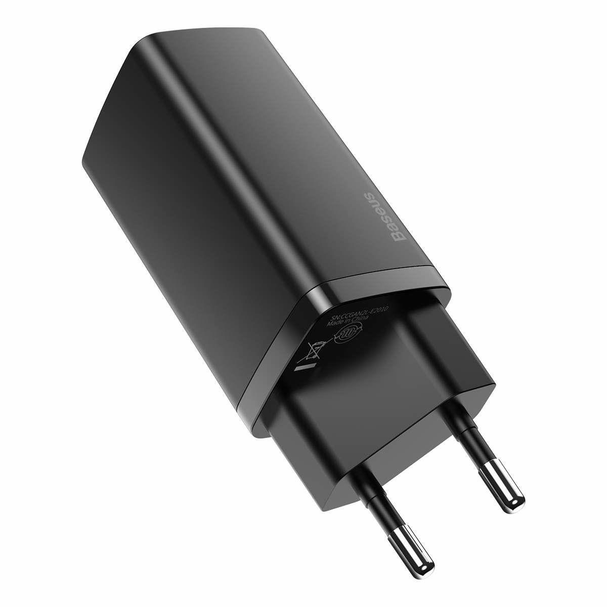 Baseus hálózati töltő, GaN2 Lite gyors töltő, C + C, 65W, fekete (CCGAN2L-E01)