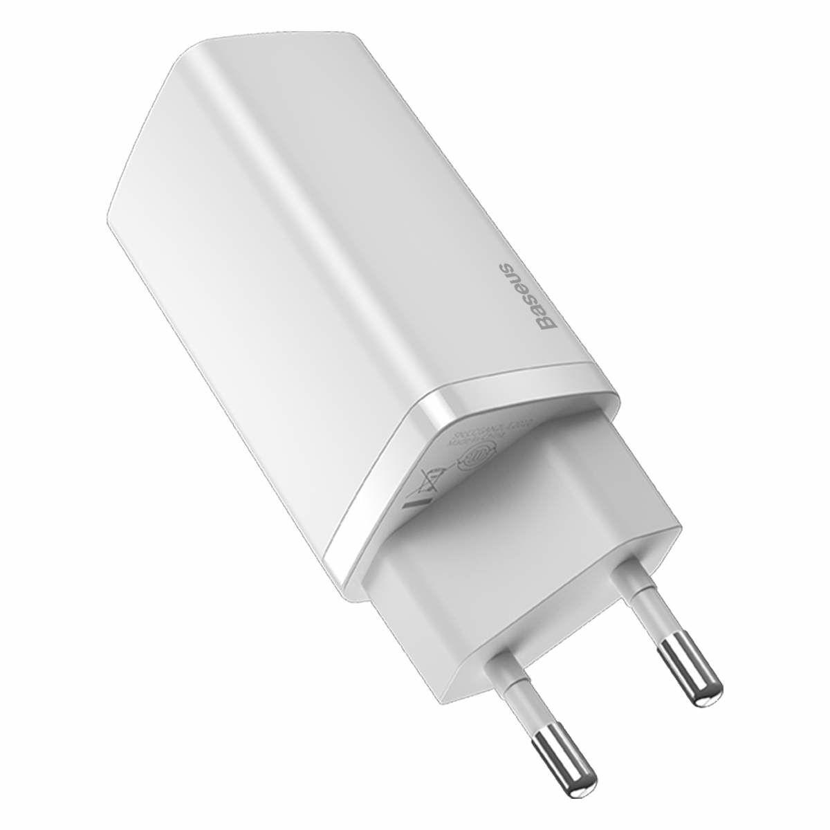 Baseus hálózati töltő, GaN2 Lite gyors töltő, C + C, 65W, fehér (CCGAN2L-E02)