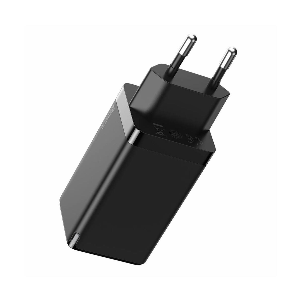 Baseus hálózati töltő, GaN2 Pro QC C+C+U (C+C kábellel, 100W, 20V/5A,1m) 65W, fekete (CCGAN2P-B01)