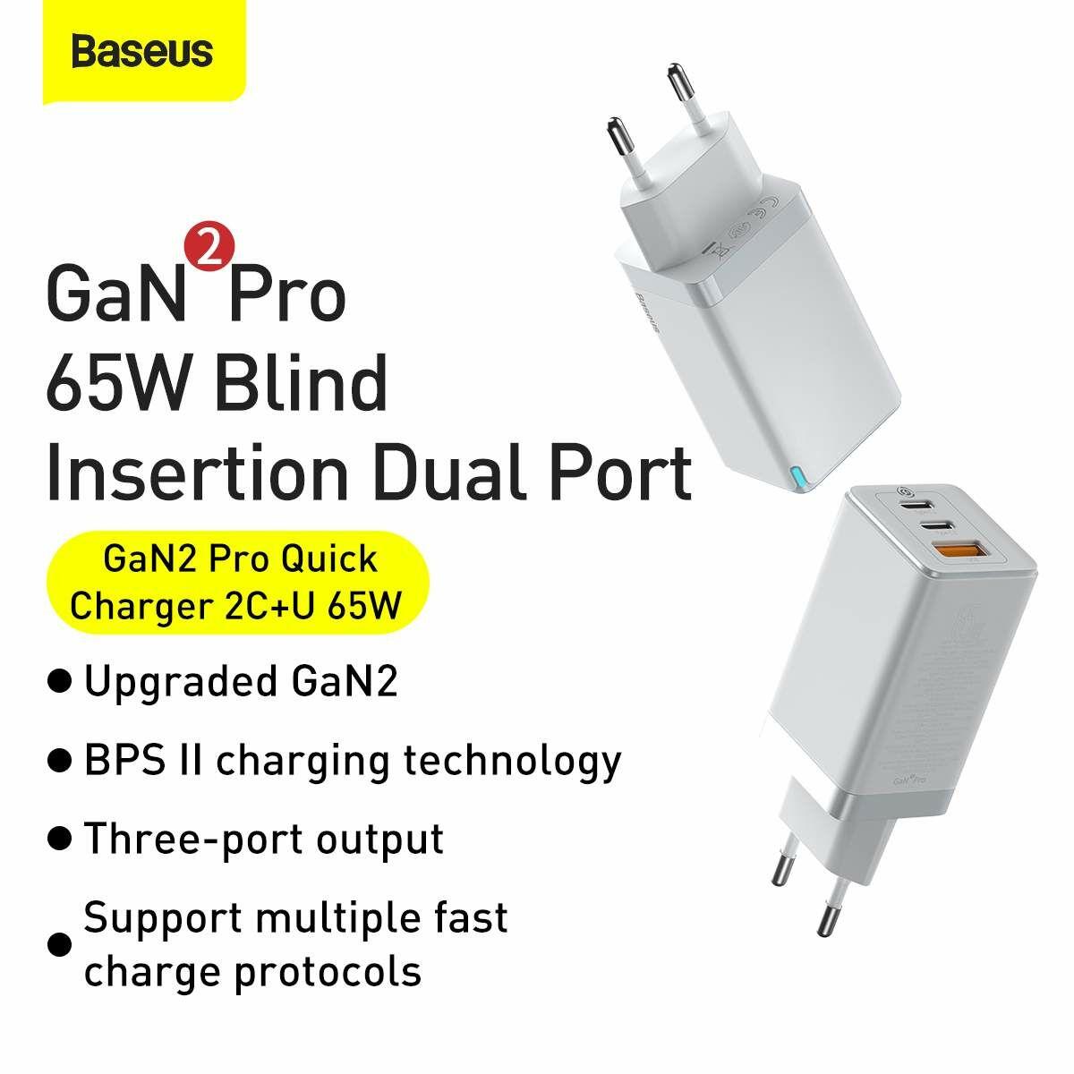 Baseus hálózati töltő, GaN2 Pro Gyors töltő, C+C+U 65W EU, fehér (CCGAN2P-B02)