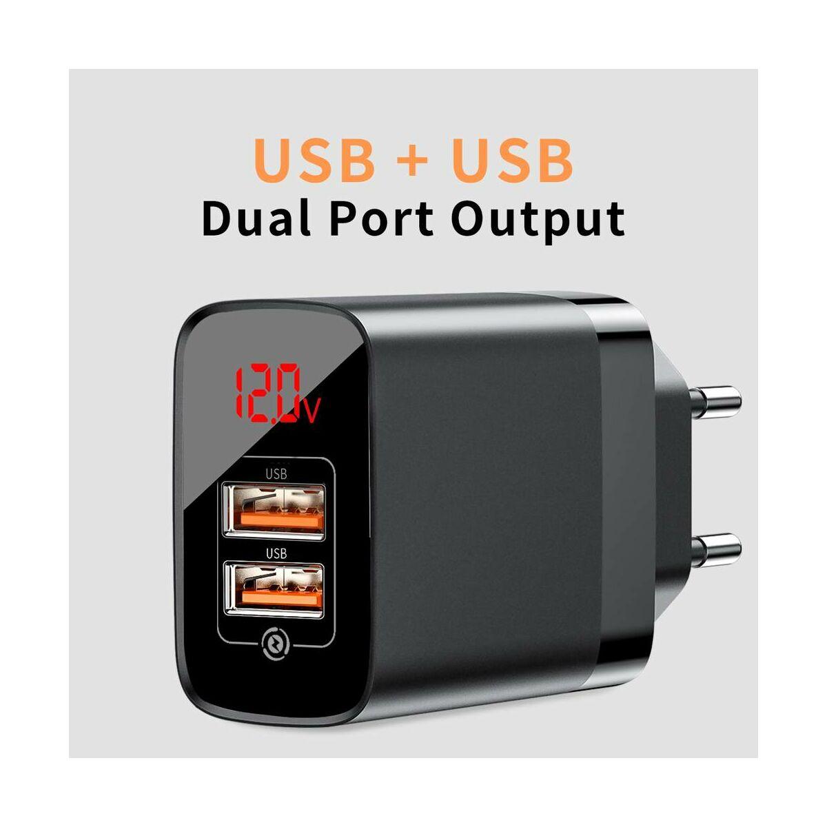 Baseus Hálózati töltő, Mirror Lake Dual QC digitális kijelző, gyors töltő, A+A EU, 15W, 3A, fekete (CCJMHA-A01)