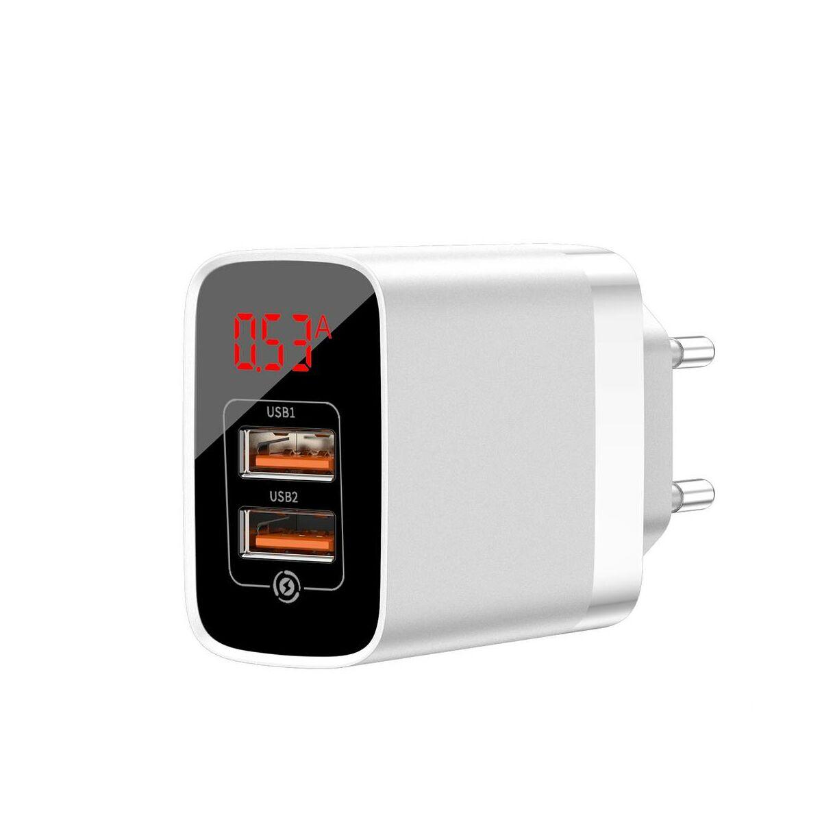 Baseus Hálózati töltő, Mirror Lake Dual QC digitális kijelző, gyors töltő, A+A EU, 15W, 3A, fehér (CCJMHA-A02)