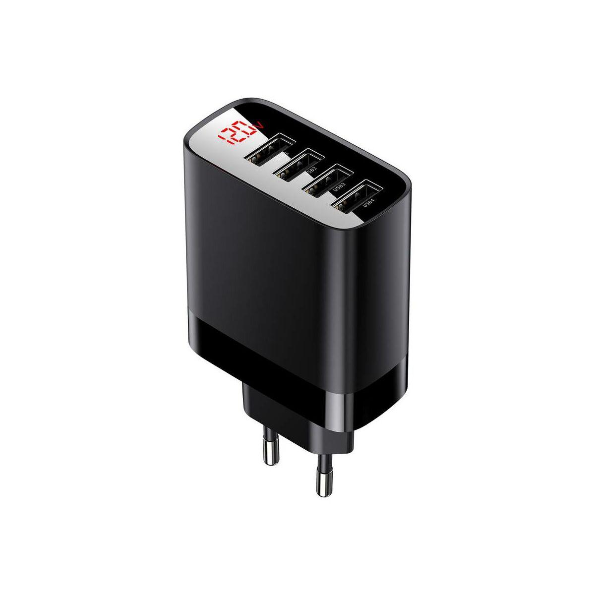 Baseus hálózati töltő, Mirror Lake digitális kijelzős 4xUSB 30W, fekete (CCJMHB-B01)