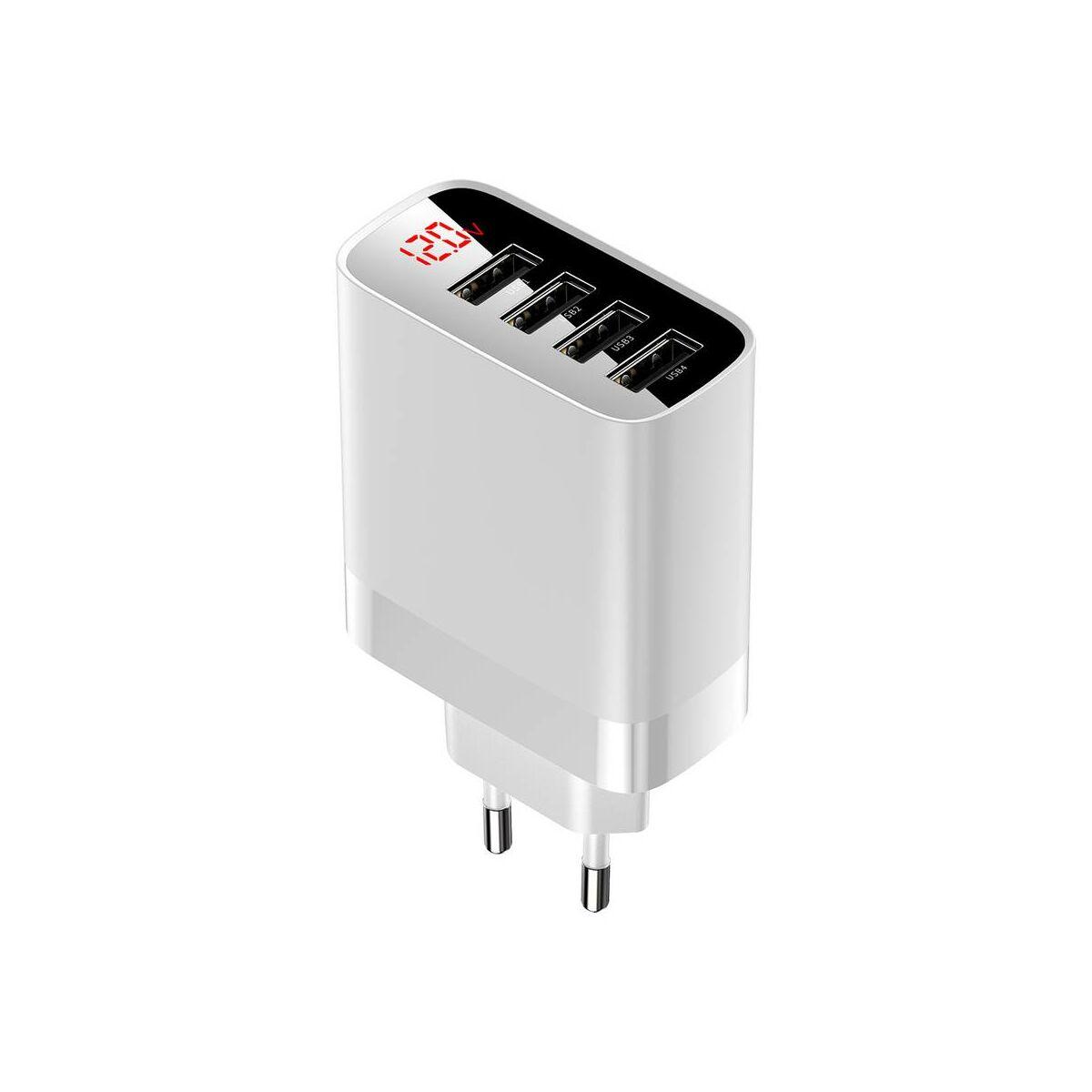 Baseus hálózati töltő, Mirror Lake digitális kijelzős 4xUSB 30W, fehér (CCJMHB-B02)
