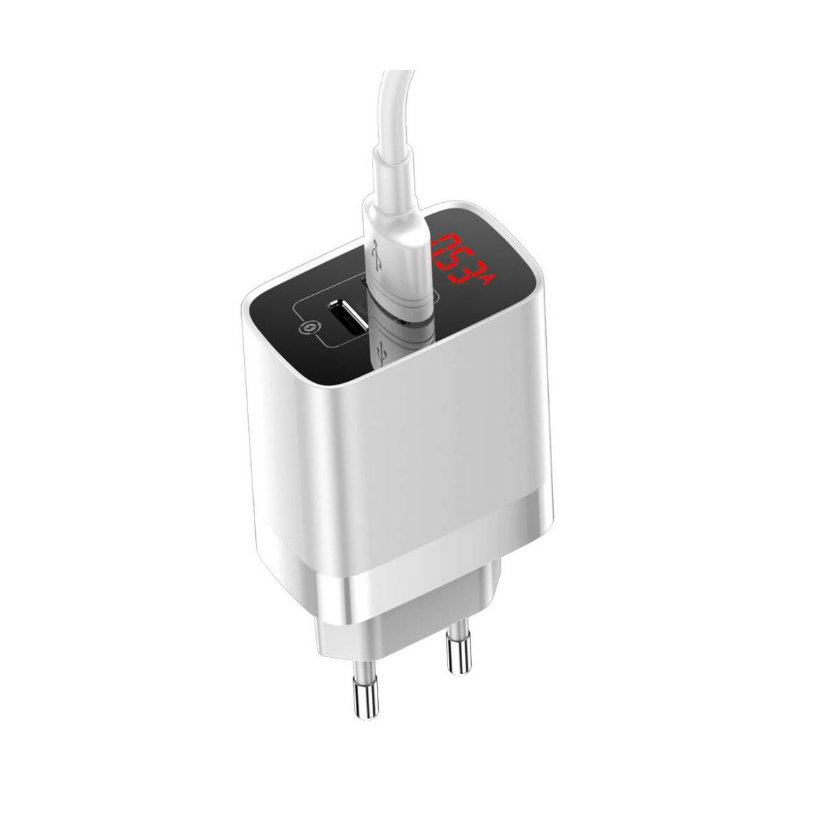Baseus Hálózati töltő, Mirror Lake PPS digitális kijelző, gyors töltő, A+C EU, 15W, 3A, fehér (CCJMHC-A02)