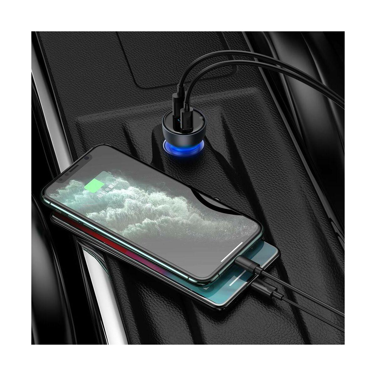 Baseus autós töltő, Particular digitális kijelzővel, dupla QC 3.0 + PPS (USB 18W + Type-C 45W), max 65W, szürke (CCKX-C0G)