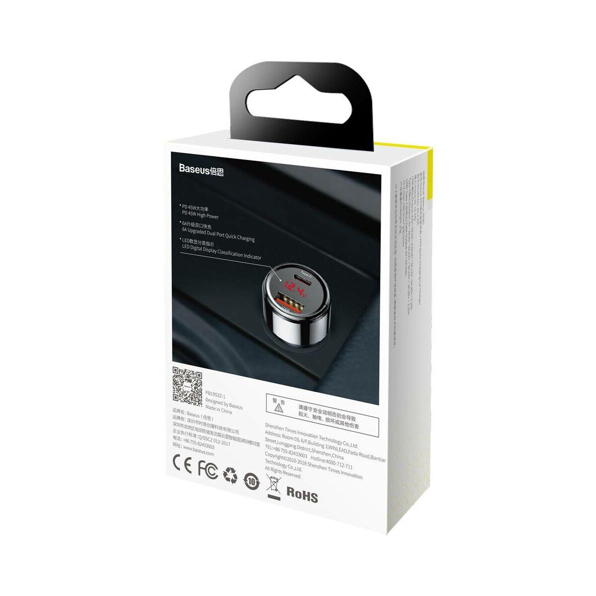 Baseus autós töltő, Magic Series PPS digitális kijelzővel (Type-C PD+Dual QC) 45W, fekete (CCMLC20C-01)