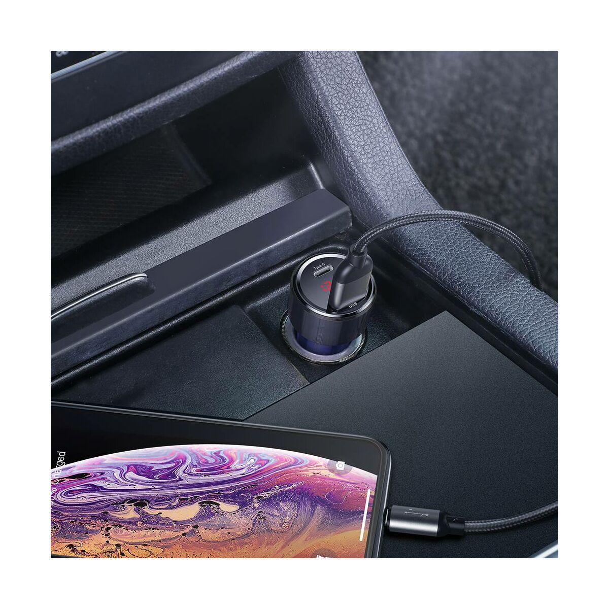 Baseus autós töltő, Magic Series PPS digitális kijelzővel (Type-C PD+Dual QC) 45W, kék (CCMLC20C-03)