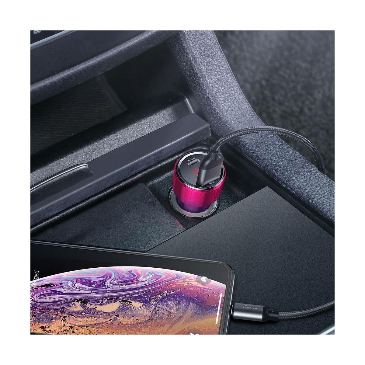 Baseus autós töltő, Magic Series PPS digitális kijelzővel (Type-C PD+Dual QC) 45W, piros (CCMLC20C-09)