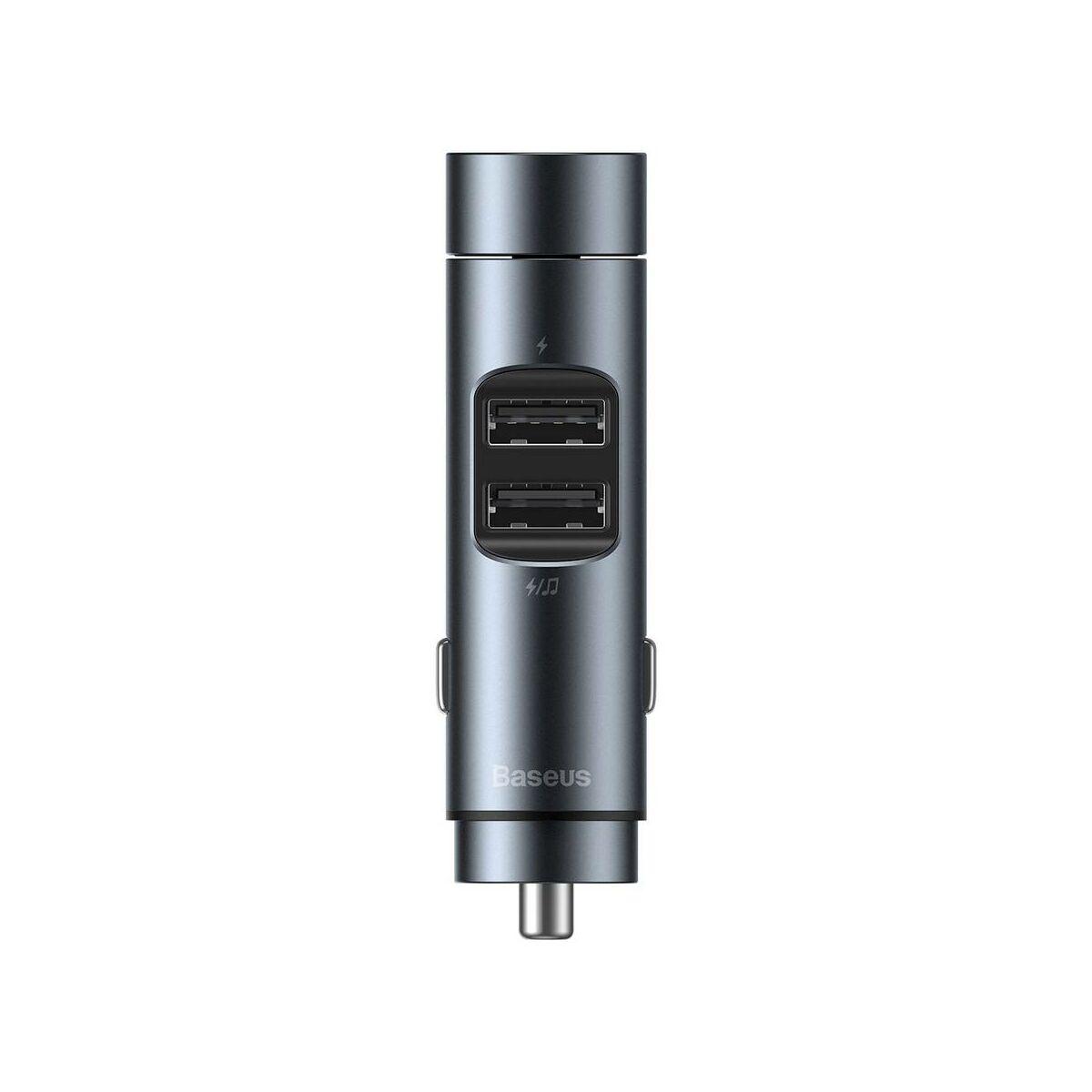 Baseus autóS töltő, Bluetooth Fm Transmitter Energy Column MP3 (BT 5.0+5V 3.1A), szürke (CCNLZ-0G)