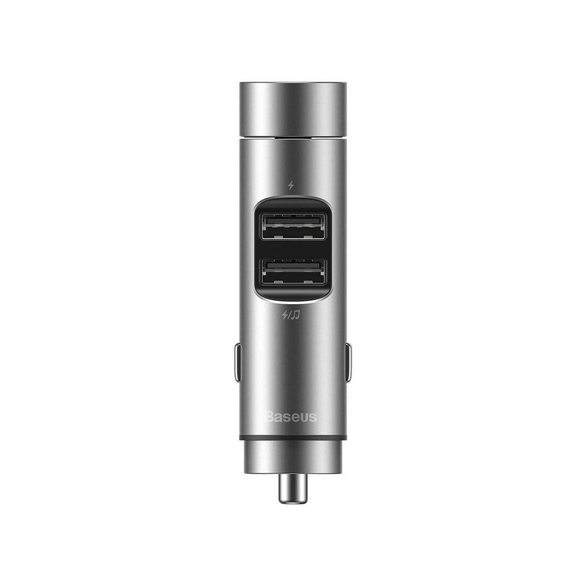 Baseus autós töltő, Bluetooth Fm Transzmitter Energy Column MP3 (BT 5.0+5V 3.1A), ezüst (CCNLZ-0S)