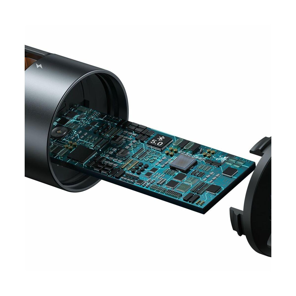 Baseus autós töltő, Bluetooth Fm Transmitter Energy Column MP3 PPS QC 2xUSB 18W, szürke(CCNLZ-C0G)