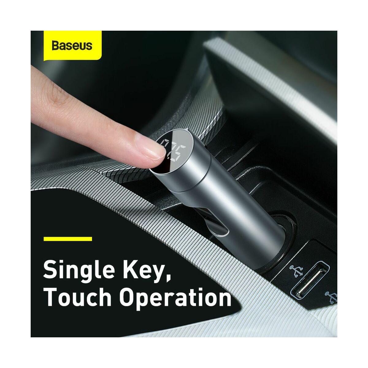 Baseus autós töltő, Bluetooth Fm Transmitter Energy Column MP3 PPS QC 2xUSB 18W, ezüst (CCNLZ-C0G)